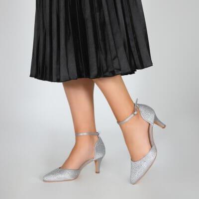 Xena silver diamante sparkly two part court shoe