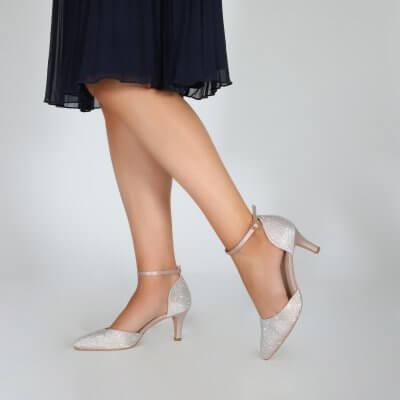 Xena taupe diamante sparkly two part court shoe