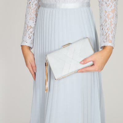 anise grey criss cross ultra suede clutch bag