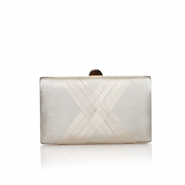 champagne satin criss cross clutch