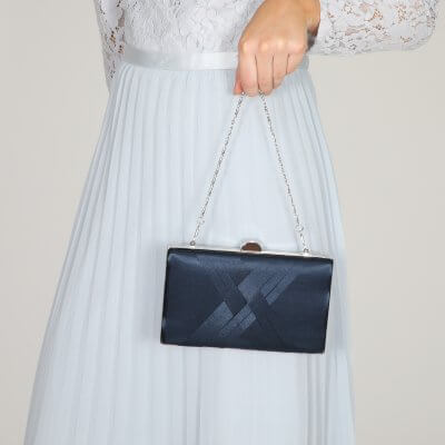 bay navy satin criss cross clutch