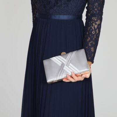 Bay silver criss cross clutch