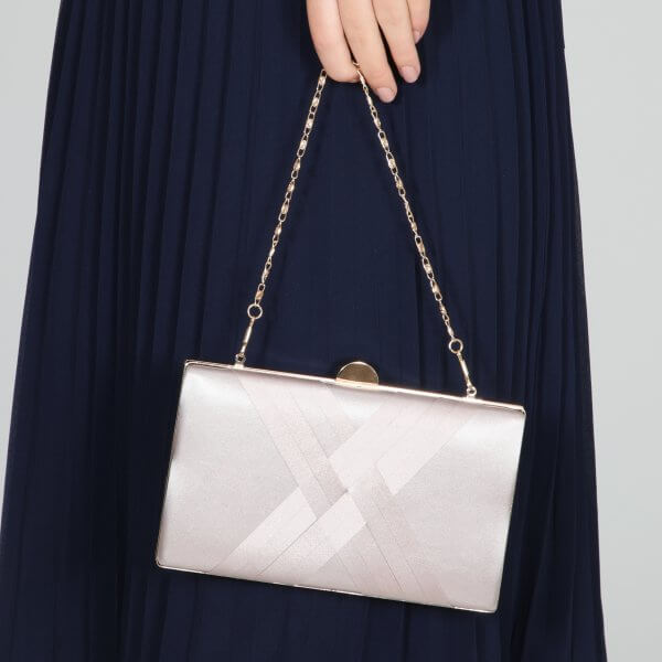 bay taupe satin criss cross clutch