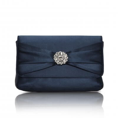 cerise navy satin evening bag