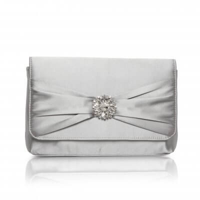 cerise silver satin evening bag