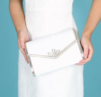 clover art deco inspired dyeable satin bridal bag