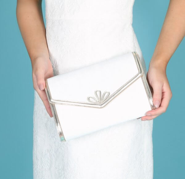 clover art deco inspired dyeable satin bridal bag