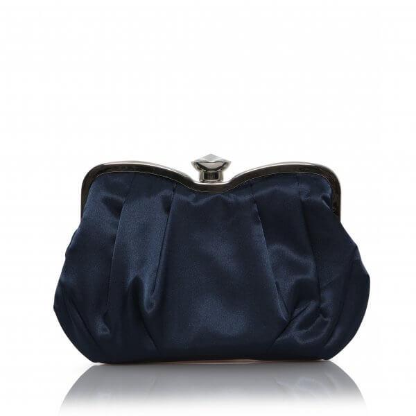 navy satin evening bag