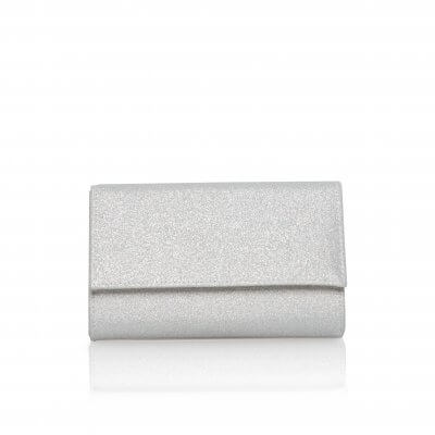 lola silver shimmer fabric clutch bag