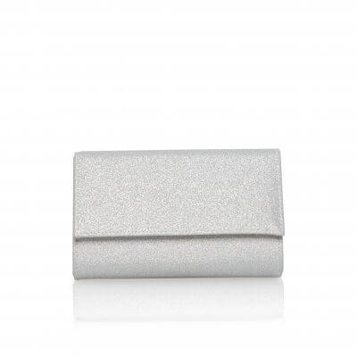 lola silver shimmer fabric clutch bag