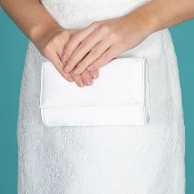 lola dyeable satin bridal clutch