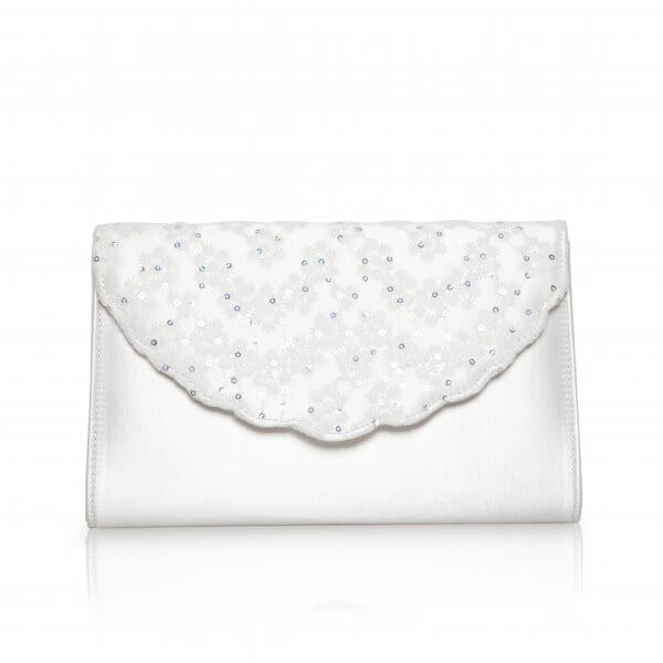 nutmeg dyeable scallop flap satin bridal clutch
