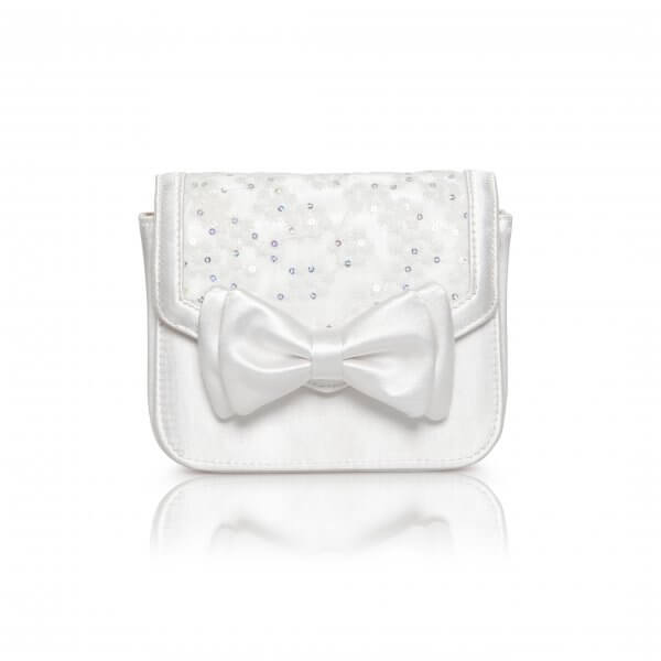 pepper dyeable ivory satin bow embellished clutch bag