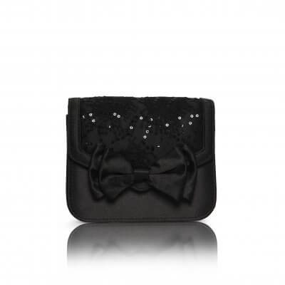 pepper black satin bow detail evening bag