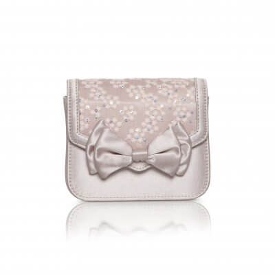 pepper taupe satin bow detail evening bag