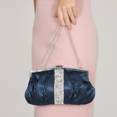 saffron navy vintage satin pouch style evening clutch
