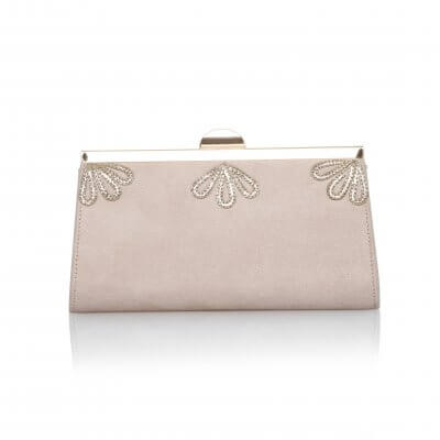 sage blush vintage ultra suede clutch bag