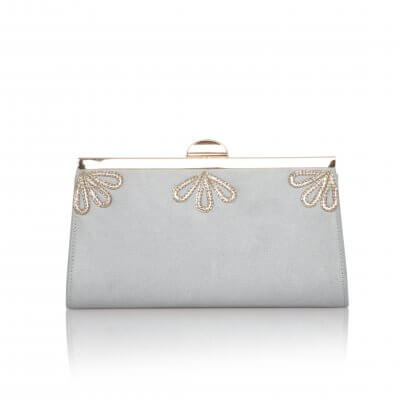 sage grey vintage ultra suede clutch bag