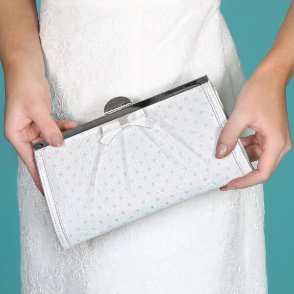 willow polka dot clutch bag