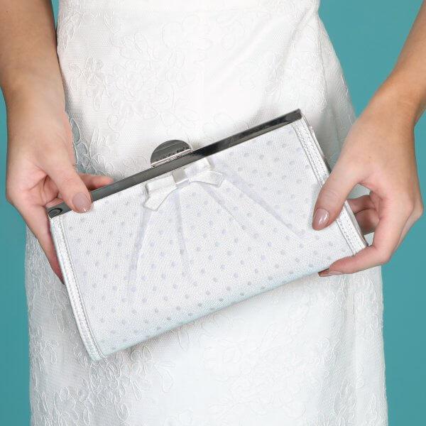 willow polka dot clutch bag