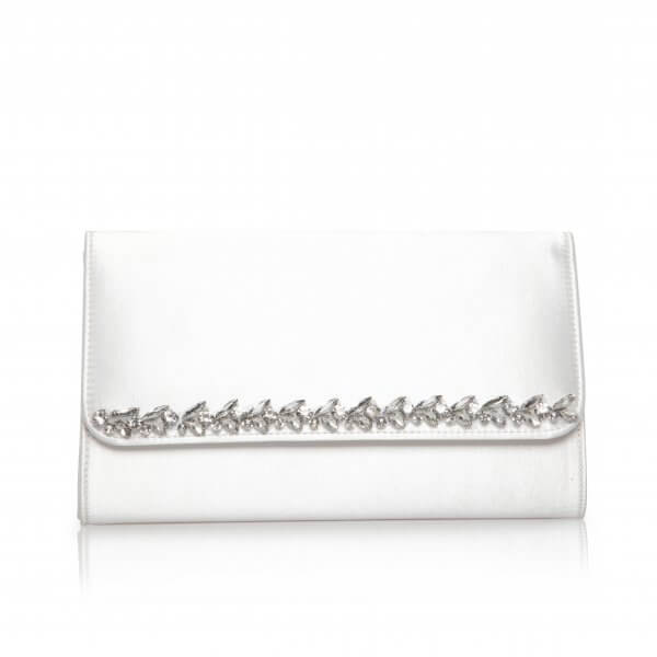 yvette dyeable satin jewel trim bridal clutch
