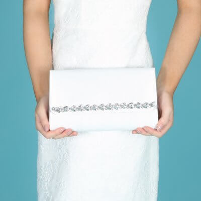 yvette dyeable satin jewel trim bridal clutch