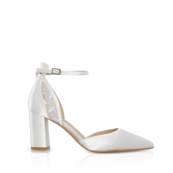 indi block heel bridal shoe